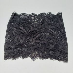 Wide Black Floral Lace Ruched Headband